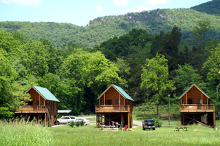 Spring at the River Log cabins