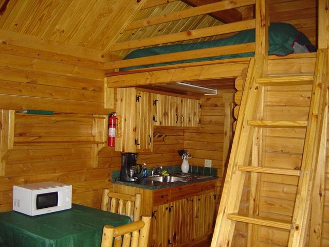 Kitchen area and loft shenandoah river log cabins for Log cabins in shenandoah valley